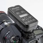 Phottix Ares II Flash Trigger Transmitter on camera