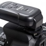 Phottix Ares Flash Trigger - Transmitter on camera - down position