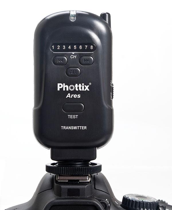 Phottix Ares Flash Trigger - Transmitter on camera