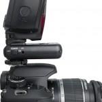 Phottix Strato II Multi Transmitter on camera with flash (side)
